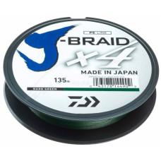 Шнур Daiwa J-Braid X4E 0.33 mm 135 Dark Green